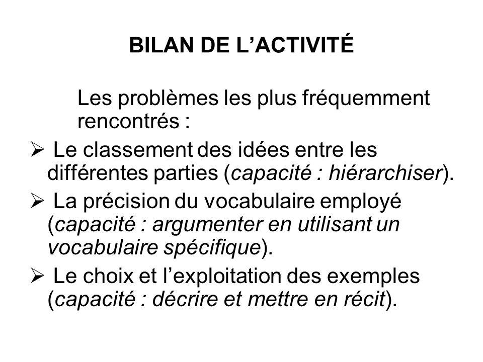 BILAN DE LACTIVITÉ Les problèmes les plus fréquemment rencontrés : Le classement des idées entre les différentes parties (capacité : hiérarchiser). La