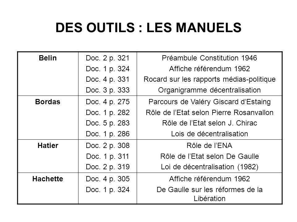 DES OUTILS : LES MANUELS BelinDoc. 2 p. 321 Doc. 1 p. 324 Doc. 4 p. 331 Doc. 3 p. 333 Préambule Constitution 1946 Affiche référendum 1962 Rocard sur l