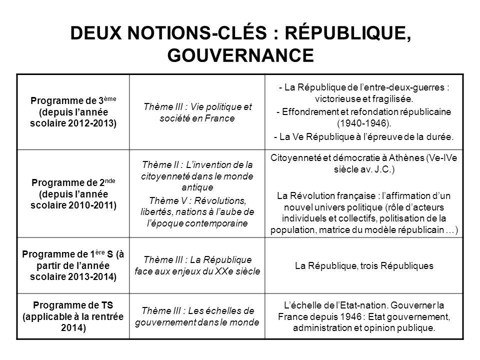 DEUX NOTIONS-CLÉS : RÉPUBLIQUE, GOUVERNANCE Programme de 3 ème (depuis lannée scolaire 2012-2013) Thème III : Vie politique et société en France - La