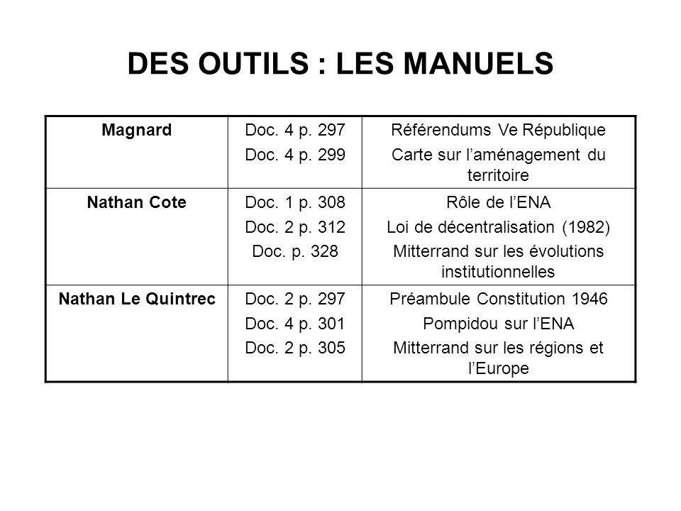 DES OUTILS : LES MANUELS MagnardDoc. 4 p. 297 Doc. 4 p. 299 Référendums Ve République Carte sur laménagement du territoire Nathan CoteDoc. 1 p. 308 Do