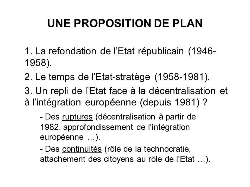 UNE PROPOSITION DE PLAN 1. La refondation de lEtat républicain (1946- 1958). 2. Le temps de lEtat-stratège (1958-1981). 3. Un repli de lEtat face à la