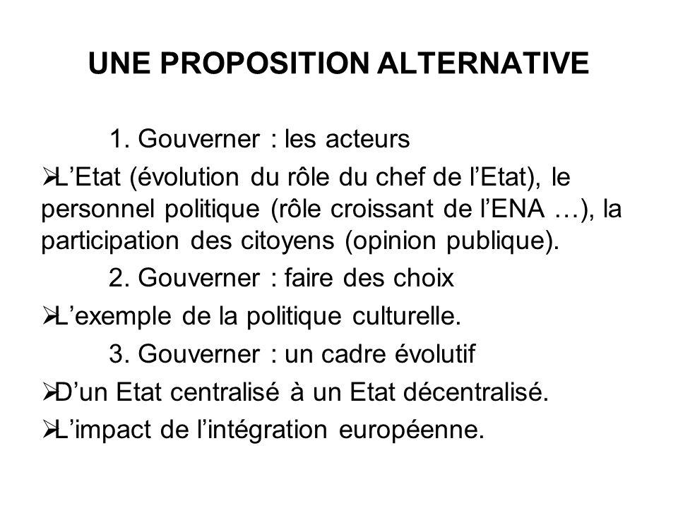UNE PROPOSITION ALTERNATIVE 1. Gouverner : les acteurs LEtat (évolution du rôle du chef de lEtat), le personnel politique (rôle croissant de lENA …),