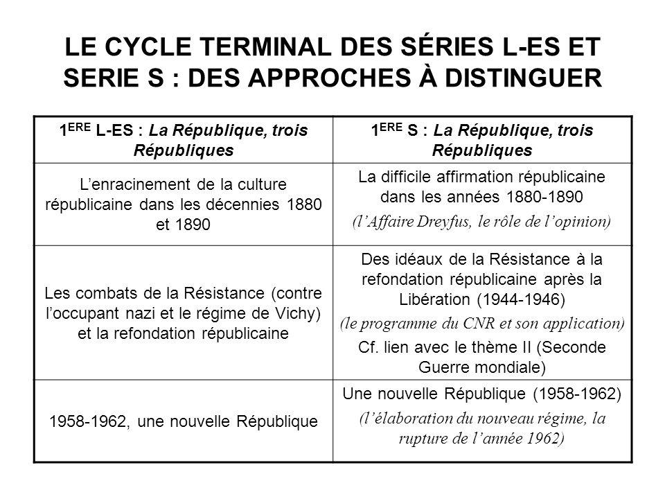 LE CYCLE TERMINAL DES SÉRIES L-ES ET SERIE S : DES APPROCHES À DISTINGUER 1 ERE L-ES : La République, trois Républiques 1 ERE S : La République, trois