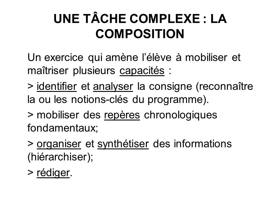 UNE TÂCHE COMPLEXE : LA COMPOSITION Un exercice qui amène lélève à mobiliser et maîtriser plusieurs capacités : > identifier et analyser la consigne (