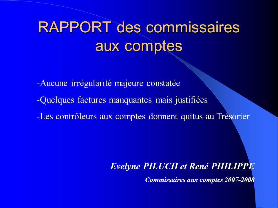 RAPPORT des commissaires aux comptes -Aucune irrégularité majeure constatée -Quelques factures manquantes mais justifiées -Les contrôleurs aux comptes