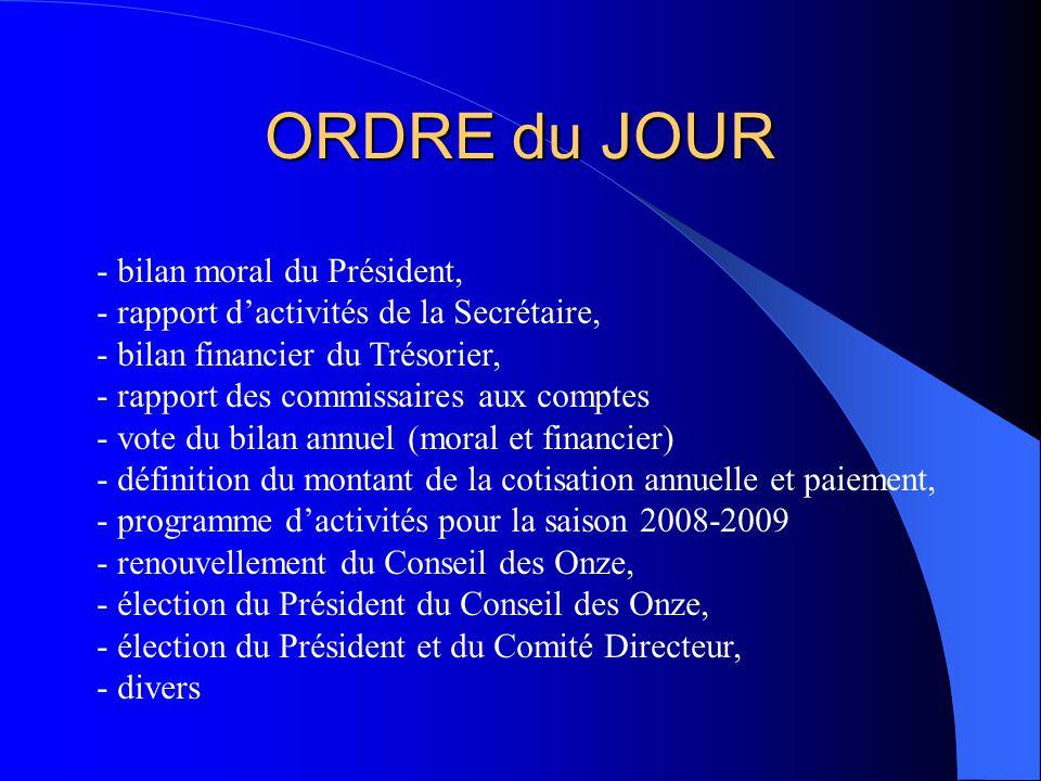 ORDRE du JOUR - bilan moral du Président, - rapport dactivités de la Secrétaire, - bilan financier du Trésorier, - rapport des commissaires aux compte