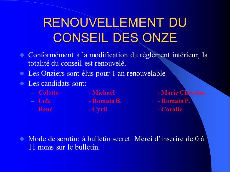 RENOUVELLEMENT DU CONSEIL DES ONZE Conformément à la modification du règlement intérieur, la totalité du conseil est renouvelé. Les Onziers sont élus