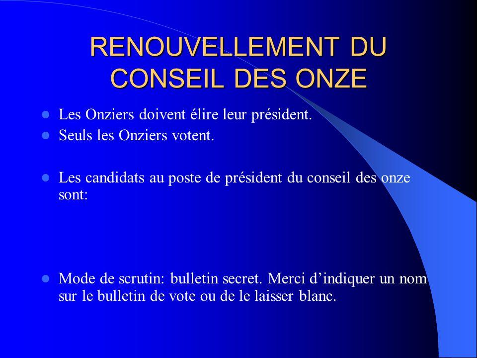 RENOUVELLEMENT DU CONSEIL DES ONZE Les Onziers doivent élire leur président. Seuls les Onziers votent. Les candidats au poste de président du conseil