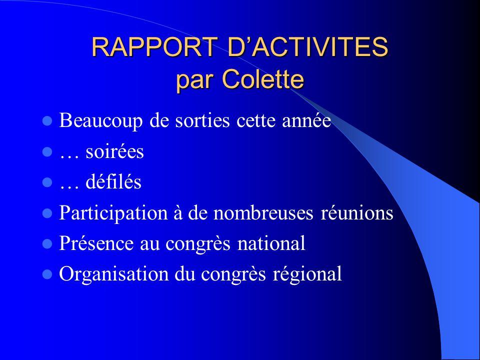 RAPPORT DACTIVITES par Colette Beaucoup de sorties cette année … soirées … défilés Participation à de nombreuses réunions Présence au congrès national Organisation du congrès régional