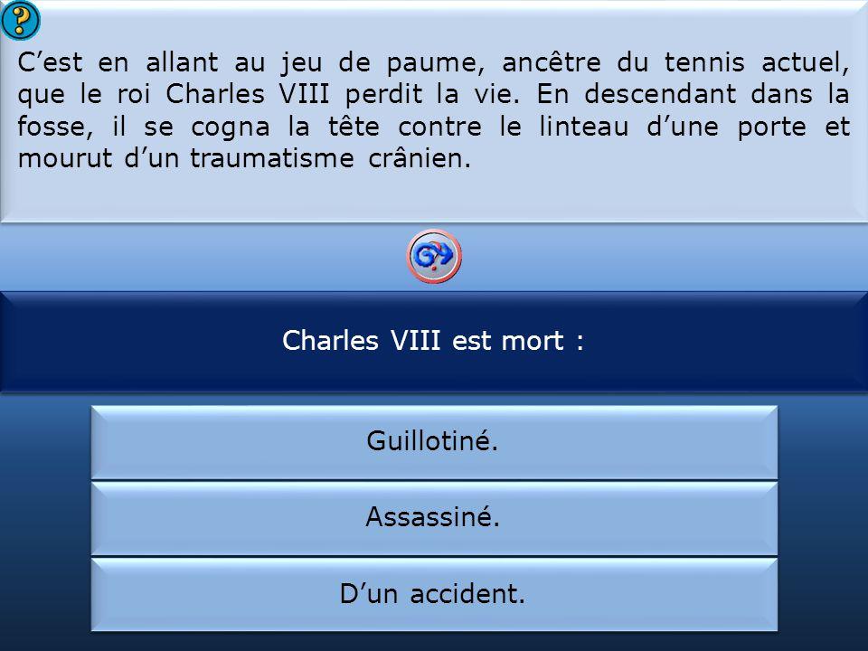 Cest en allant au jeu de paume, ancêtre du tennis actuel, que le roi Charles VIII perdit la vie.