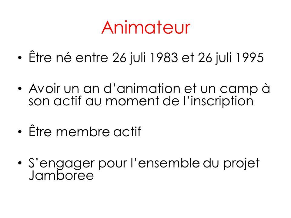 Animateur Être né entre 26 juli 1983 et 26 juli 1995 Avoir un an danimation et un camp à son actif au moment de linscription Être membre actif Sengage