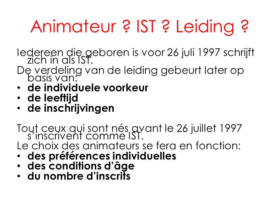 Animateur .IST . Leiding . Iedereen die geboren is voor 26 juli 1997 schrijft zich in als IST.
