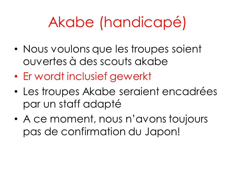 Akabe (handicapé) Nous voulons que les troupes soient ouvertes à des scouts akabe Er wordt inclusief gewerkt Les troupes Akabe seraient encadrées par un staff adapté A ce moment, nous navons toujours pas de confirmation du Japon!