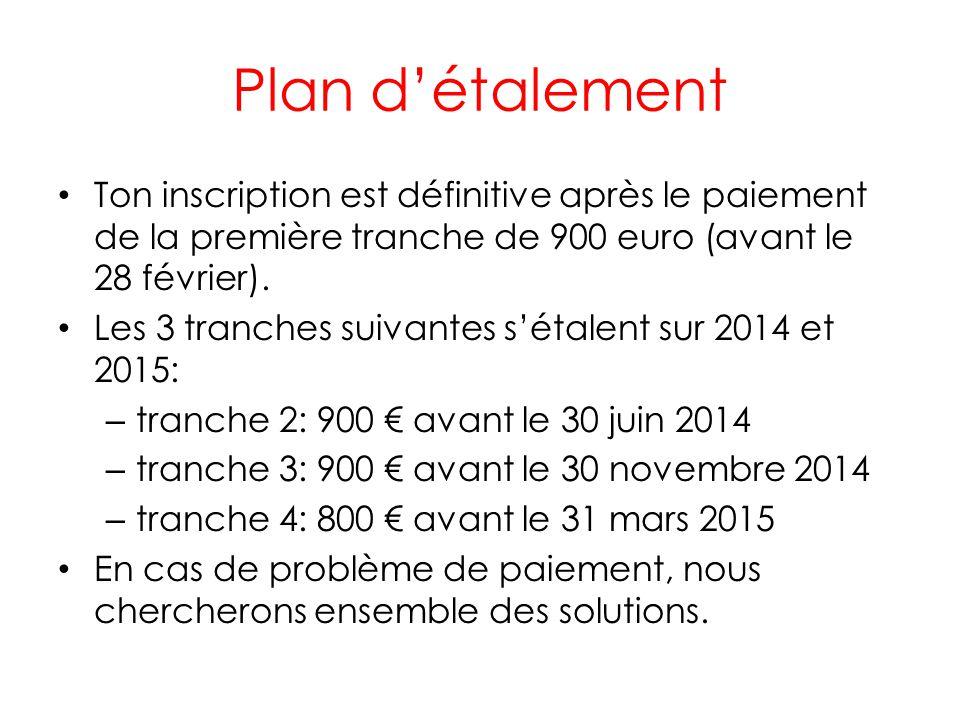 Plan détalement Ton inscription est définitive après le paiement de la première tranche de 900 euro (avant le 28 février). Les 3 tranches suivantes sé