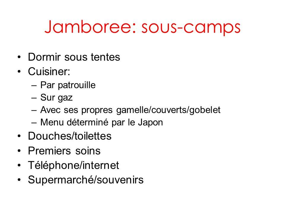 Jamboree: sous-camps Dormir sous tentes Cuisiner: –Par patrouille –Sur gaz –Avec ses propres gamelle/couverts/gobelet –Menu déterminé par le Japon Douches/toilettes Premiers soins Téléphone/internet Supermarché/souvenirs