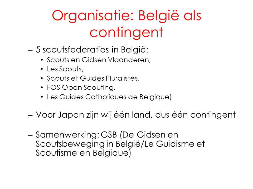 Organisatie: België als contingent – 5 scoutsfederaties in België: Scouts en Gidsen Vlaanderen, Les Scouts, Scouts et Guides Pluralistes, FOS Open Sco