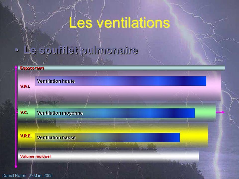 Daniel Huron© Mars 2005 Les ventilations Le soufflet pulmonaireLe soufflet pulmonaire Le soufflet pulmonaire Espace mort Volume résiduel V.R.I V.R.I.