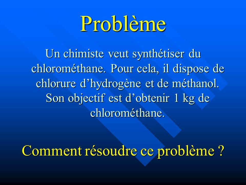 Problème Un chimiste veut synthétiser du chlorométhane. Pour cela, il dispose de chlorure dhydrogène et de méthanol. Son objectif est dobtenir 1 kg de