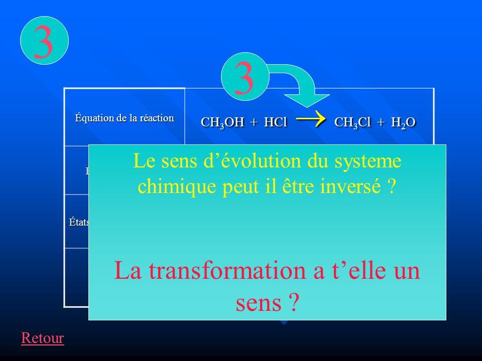Équation de la réaction État initial x=0 n1n1n1n1 n2n2n2n200 États intermédiaires X n 1 – x n 2 – x xx État final x max =19,80019,819,8 CH 3 OH + HCl