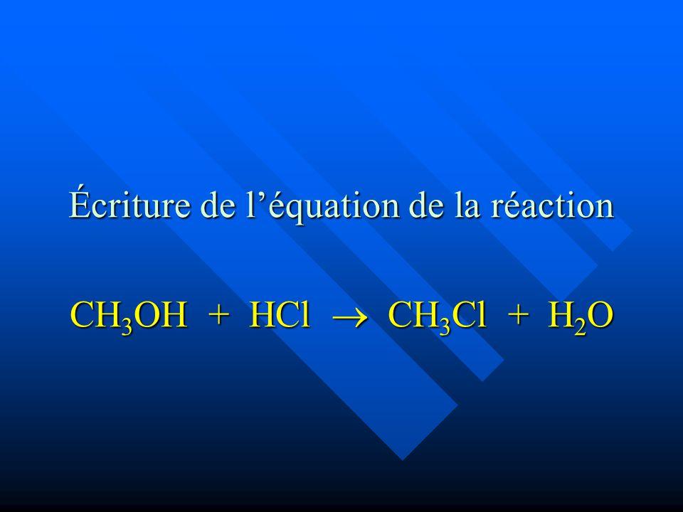 Écriture de léquation de la réaction CH 3 OH + HCl CH 3 Cl + H 2 O