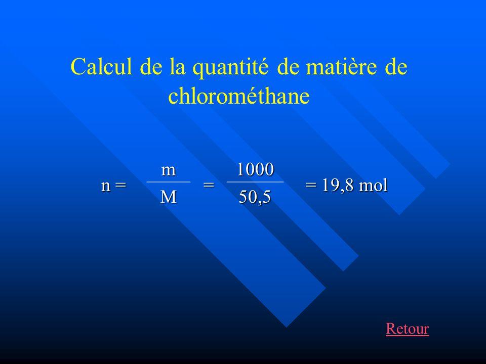 Conclusion Il faut quil prenne: n 1 = 19,8 mol de méthanol soit m = n x M = 19,8 x 32 = 633,6 g n 2 = 19,8 mol de chlorure dhydrogène soit m = n x M = 19,8 x 36,5 = 722,7 g ou V = n x Vm = 19,8 x 22,4 = 443,5 L