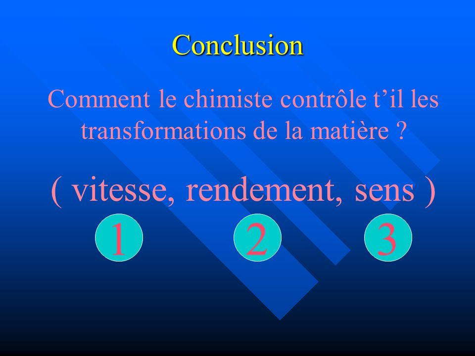 Conclusion Comment le chimiste contrôle til les transformations de la matière ? ( vitesse, rendement, sens ) 321