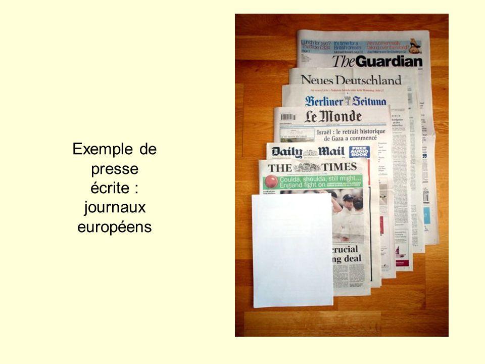 Exemple de presse écrite : journaux européens
