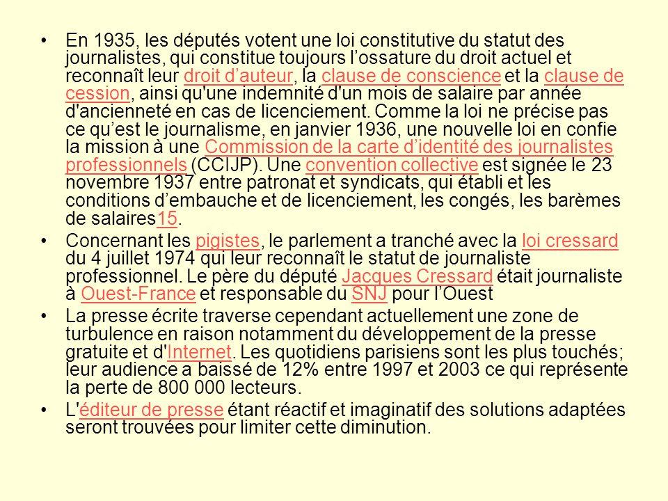 En 1935, les députés votent une loi constitutive du statut des journalistes, qui constitue toujours lossature du droit actuel et reconnaît leur droit dauteur, la clause de conscience et la clause de cession, ainsi qu une indemnité d un mois de salaire par année d ancienneté en cas de licenciement.