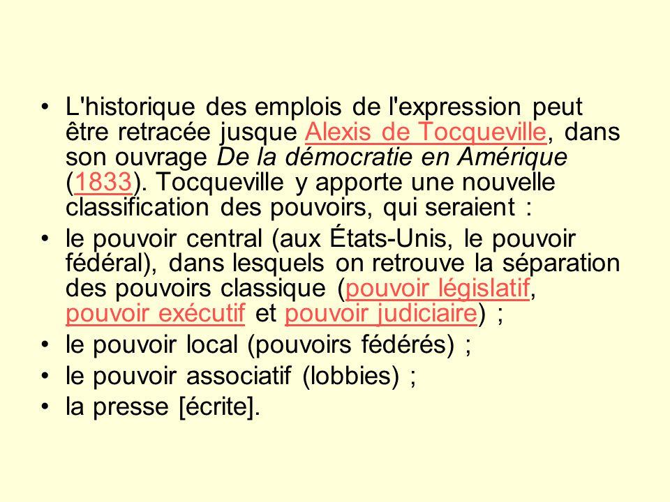 L historique des emplois de l expression peut être retracée jusque Alexis de Tocqueville, dans son ouvrage De la démocratie en Amérique (1833).