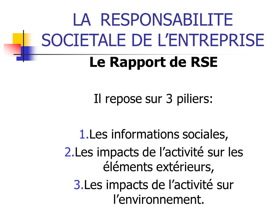 LARESPONSABILITE SOCIETALE DE LENTREPRISE Le Rapport de RSE Il repose sur 3 piliers: 1.Les informations sociales, 2.Les impacts de lactivité sur les éléments extérieurs, 3.Les impacts de lactivité sur lenvironnement.