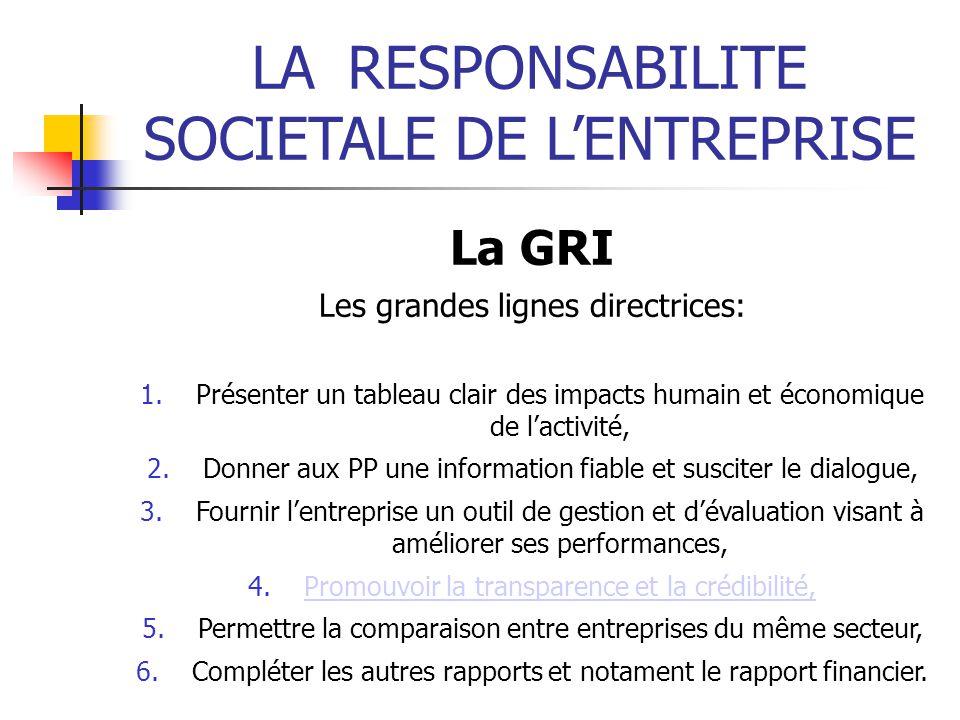 LARESPONSABILITE SOCIETALE DE LENTREPRISE La GRI Les grandes lignes directrices: 1.Présenter un tableau clair des impacts humain et économique de lact