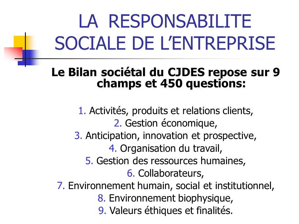 LARESPONSABILITE SOCIALE DE LENTREPRISE Le Bilan sociétal du CJDES repose sur 9 champs et 450 questions: 1.Activités, produits et relations clients, 2