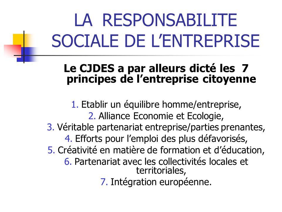LARESPONSABILITE SOCIALE DE LENTREPRISE Le CJDES a par alleurs dicté les 7 principes de lentreprise citoyenne 1.Etablir un équilibre homme/entreprise,
