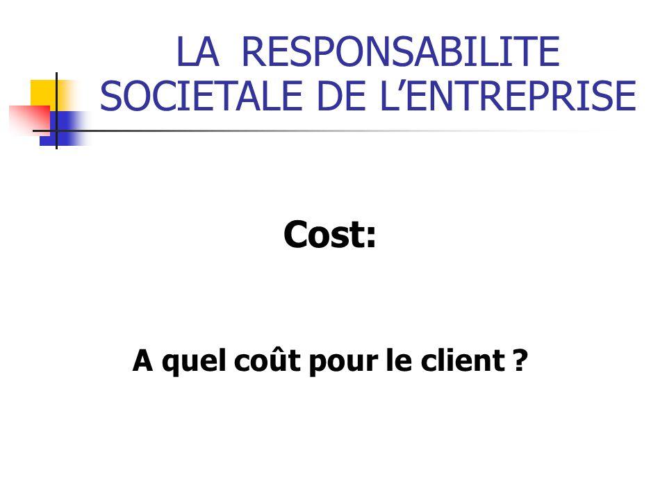 LARESPONSABILITE SOCIETALE DE LENTREPRISE Cost: A quel coût pour le client ?
