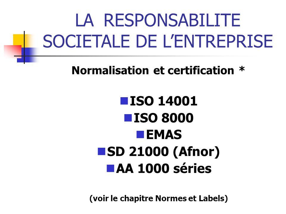 LARESPONSABILITE SOCIETALE DE LENTREPRISE Normalisation et certification * ISO 14001 ISO 8000 EMAS SD 21000 (Afnor) AA 1000 séries (voir le chapitre Normes et Labels)