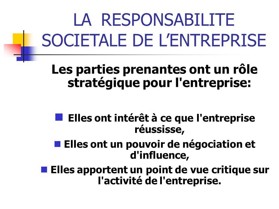 LARESPONSABILITE SOCIETALE DE LENTREPRISE Les parties prenantes ont un rôle stratégique pour l'entreprise: Elles ont intérêt à ce que l'entreprise réu