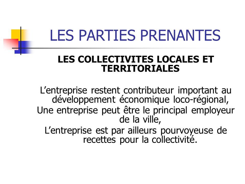 LES PARTIES PRENANTES LES COLLECTIVITES LOCALES ET TERRITORIALES Lentreprise restent contributeur important au développement économique loco-régional,
