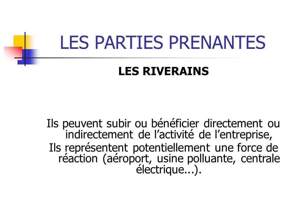 LES PARTIES PRENANTES LES RIVERAINS Ils peuvent subir ou bénéficier directement ou indirectement de lactivité de lentreprise, Ils représentent potentiellement une force de réaction (aéroport, usine polluante, centrale électrique...).