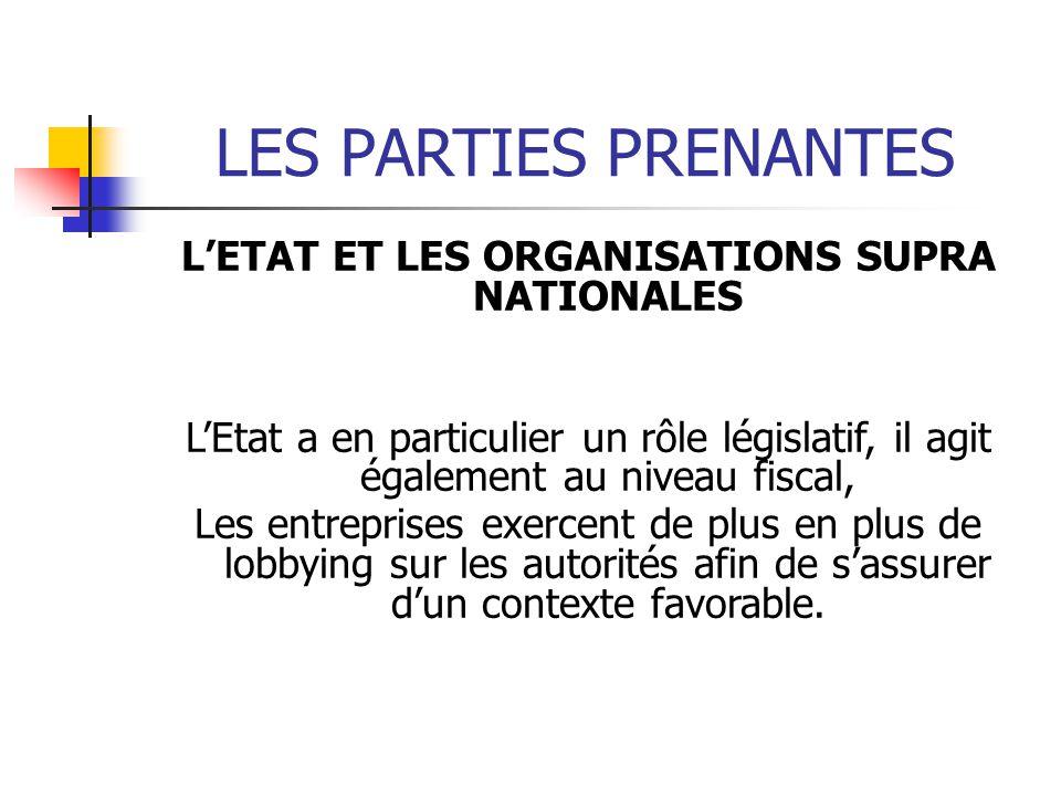 LES PARTIES PRENANTES LETAT ET LES ORGANISATIONS SUPRA NATIONALES LEtat a en particulier un rôle législatif, il agit également au niveau fiscal, Les e