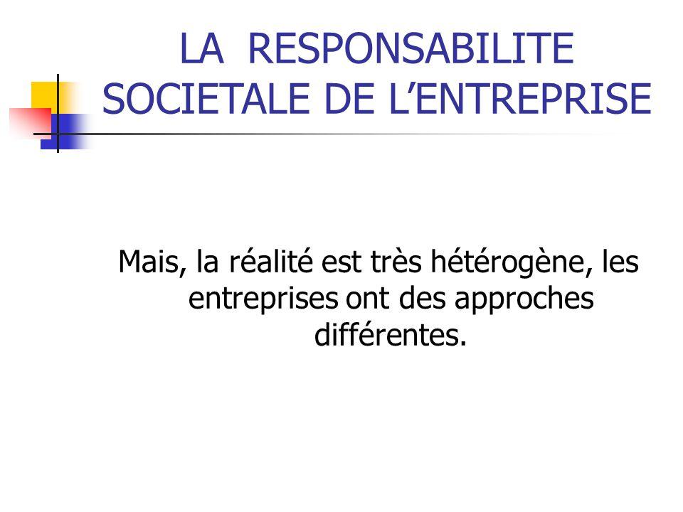 LARESPONSABILITE SOCIETALE DE LENTREPRISE Mais, la réalité est très hétérogène, les entreprises ont des approches différentes.