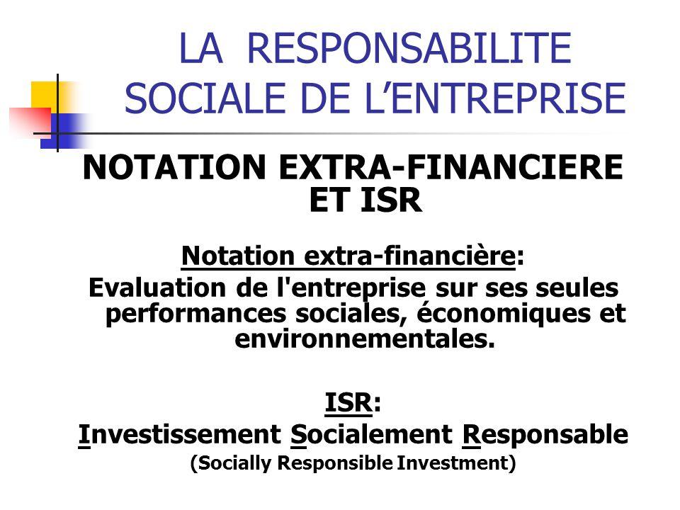 LARESPONSABILITE SOCIALE DE LENTREPRISE NOTATION EXTRA-FINANCIERE ET ISR Notation extra-financière: Evaluation de l entreprise sur ses seules performances sociales, économiques et environnementales.