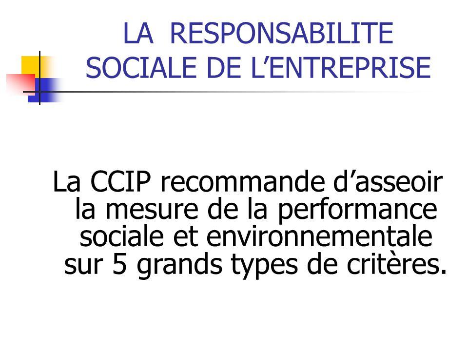 LARESPONSABILITE SOCIALE DE LENTREPRISE La CCIP recommande dasseoir la mesure de la performance sociale et environnementale sur 5 grands types de crit