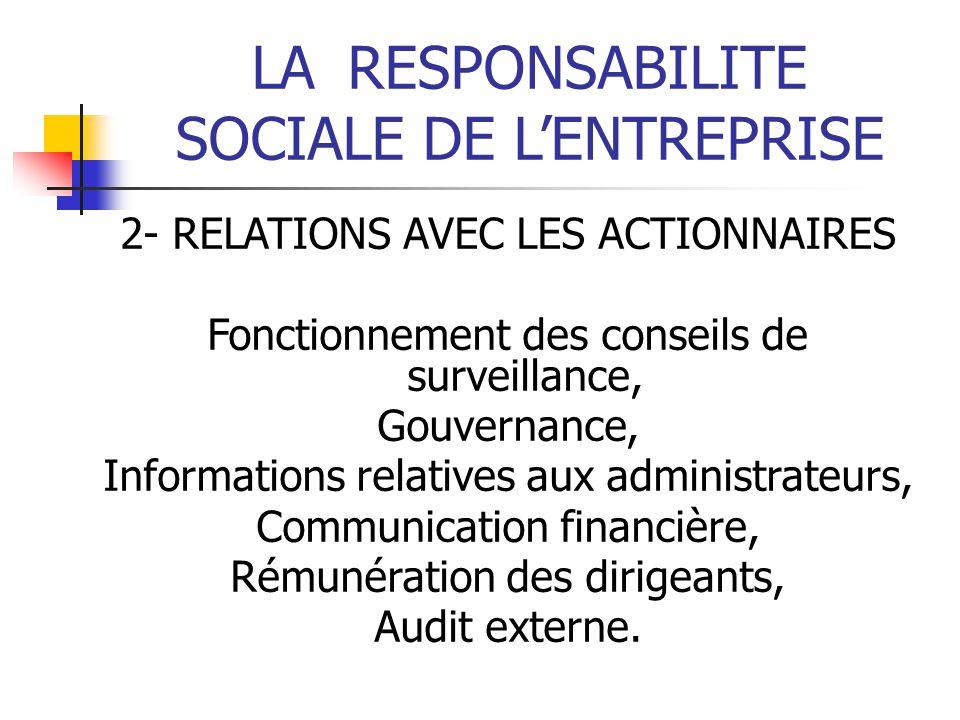 LARESPONSABILITE SOCIALE DE LENTREPRISE 2- RELATIONS AVEC LES ACTIONNAIRES Fonctionnement des conseils de surveillance, Gouvernance, Informations rela