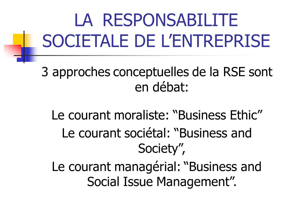 LARESPONSABILITE SOCIETALE DE LENTREPRISE 3 approches conceptuelles de la RSE sont en débat: Le courant moraliste: Business Ethic Le courant sociétal: Business and Society, Le courant managérial: Business and Social Issue Management.