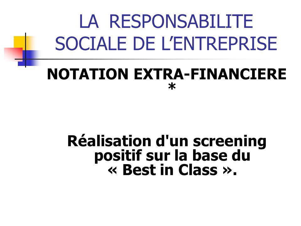 LARESPONSABILITE SOCIALE DE LENTREPRISE NOTATION EXTRA-FINANCIERE * Réalisation d un screening positif sur la base du « Best in Class ».