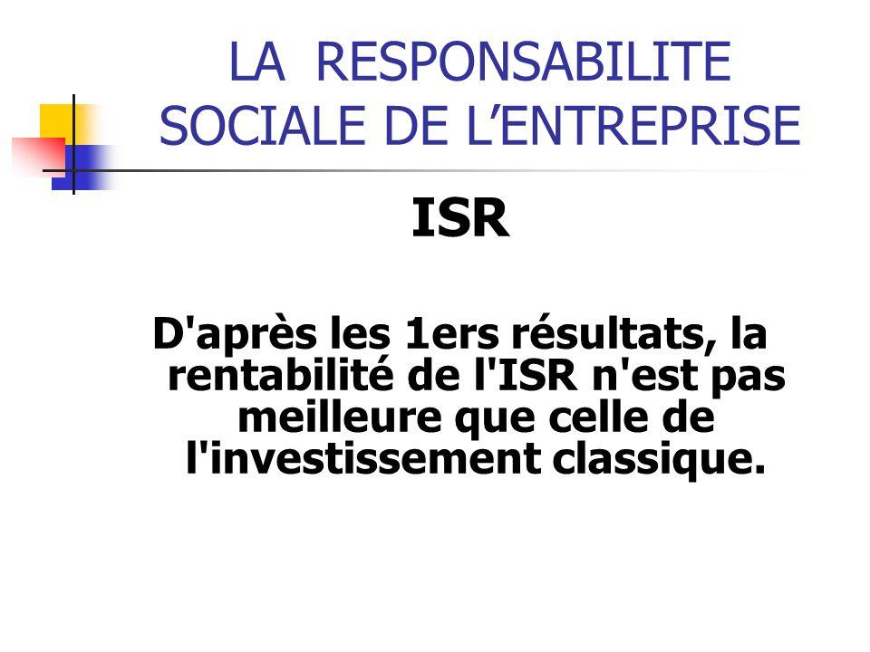 LARESPONSABILITE SOCIALE DE LENTREPRISE ISR D après les 1ers résultats, la rentabilité de l ISR n est pas meilleure que celle de l investissement classique.