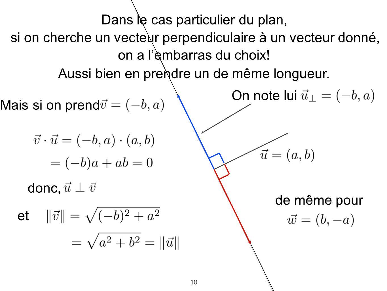 10 Dans le cas particulier du plan, si on cherche un vecteur perpendiculaire à un vecteur donné, on a lembarras du choix! Aussi bien en prendre un de
