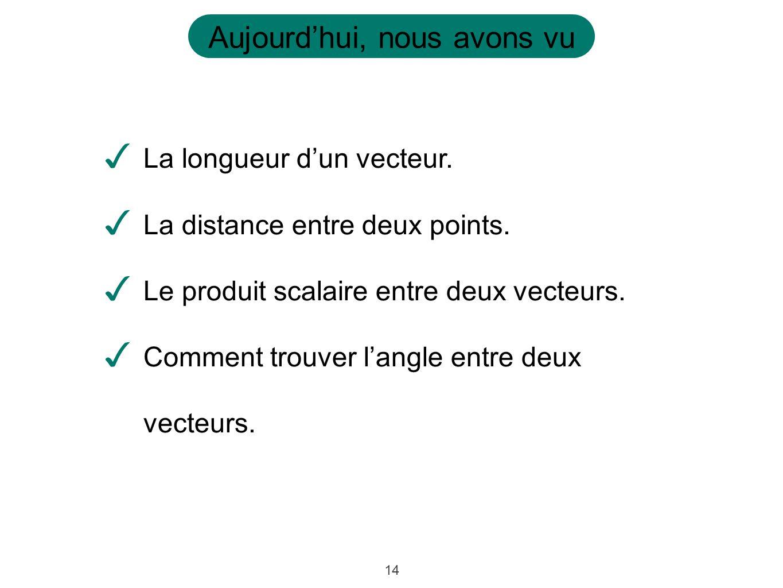 14 Aujourdhui, nous avons vu La longueur dun vecteur. La distance entre deux points. Le produit scalaire entre deux vecteurs. Comment trouver langle e