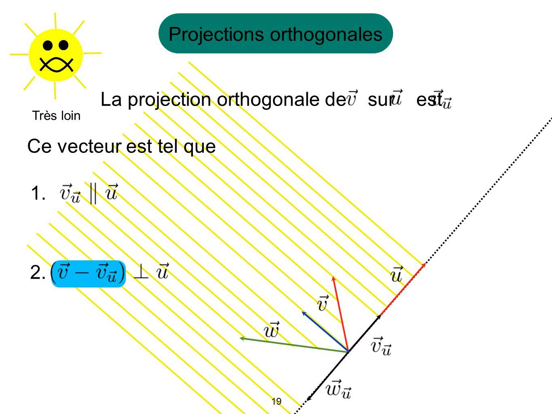 19 Projections orthogonales Très loin La projection orthogonale de sur est Ce vecteur est tel que 1. 2. 19