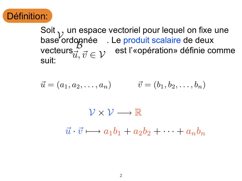 2 Définition: Soit un espace vectoriel pour lequel on fixe une base ordonnée. Le produit scalaire de deux vecteurs est l«opération» définie comme suit